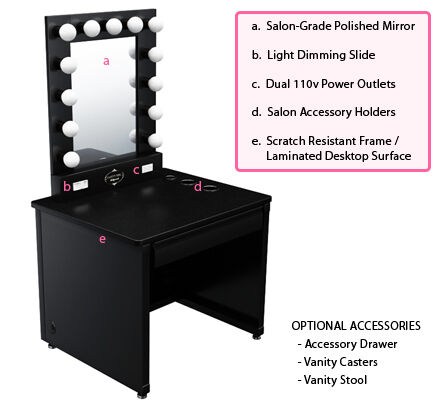 Broadway Lighted Vanity Mirror Desk : Broadway Lighted Vanity Makeup Desk eBay