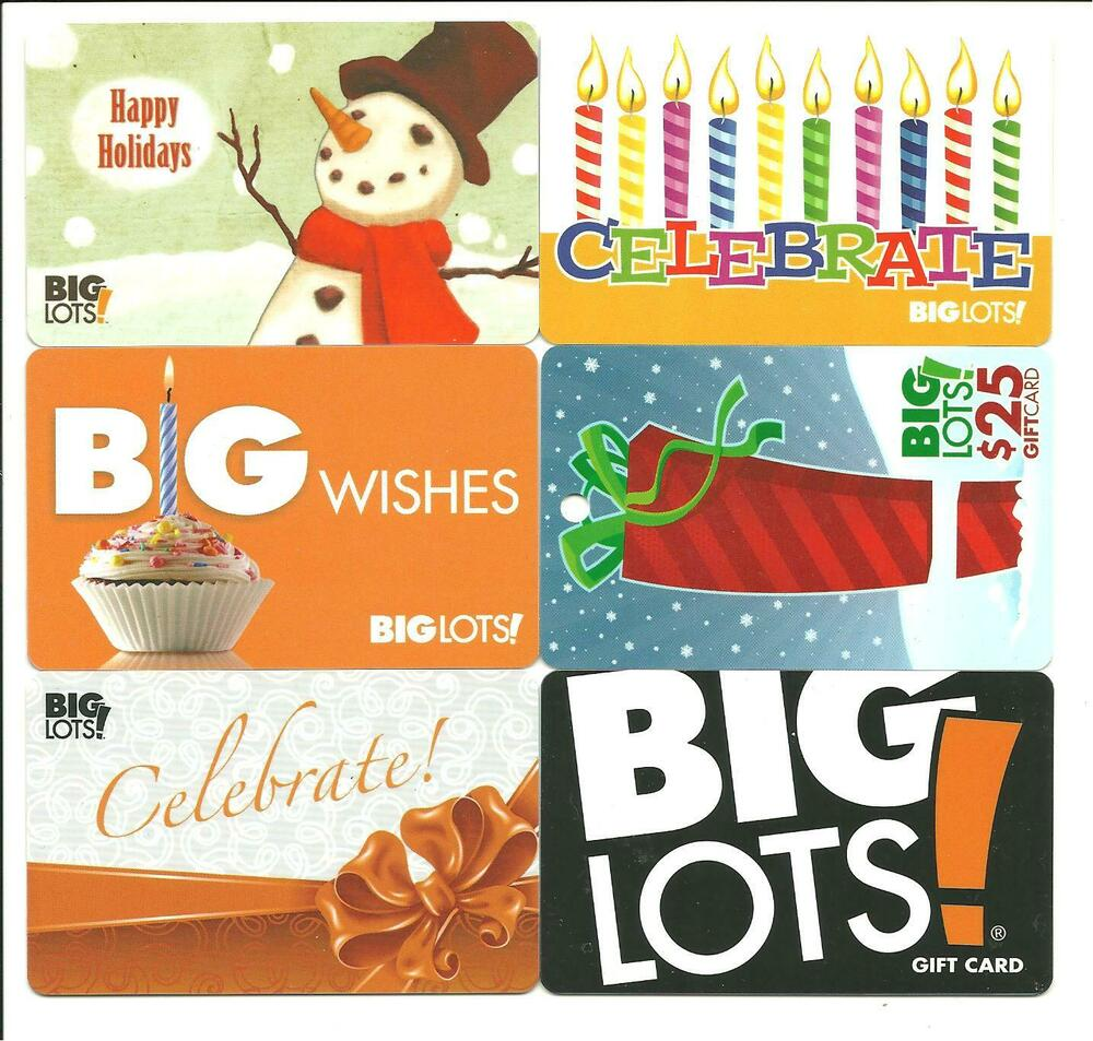 Big Lots Lot Of (7) Gift Cards No $ Value Collectible Incl