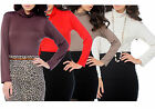 Womens Polo Turtle Neck Fitted Top Long Sleeved Ladies Women's New