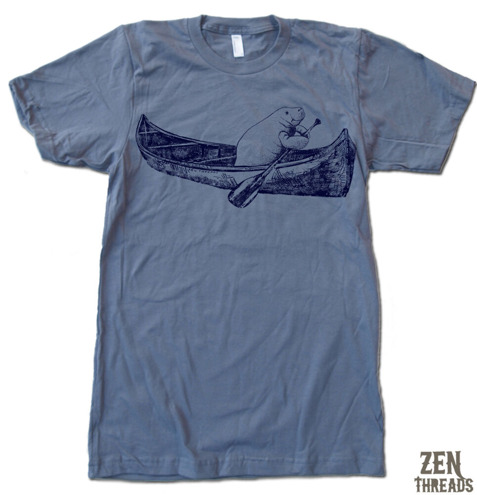 Mens Manatee In A Canoe Screen Printed American Apparel T