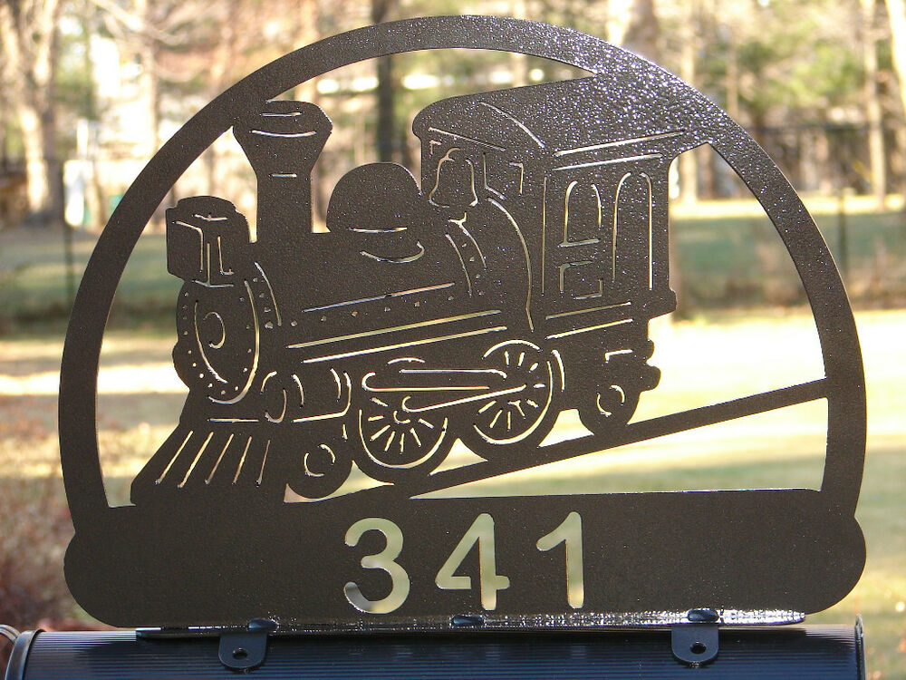 Road Signs For Sale >> TRAIN MAILBOX TOPPER ADDRESS STEAM ENGINE ENGINEER RAIL ROAD TRACK PERSONALIZED | eBay