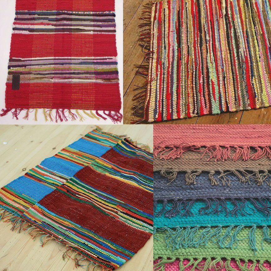 Fair Trade Indian Rag Rug 90 X 150cm 3 X 5 Recycled
