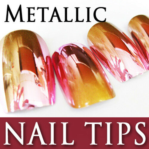 24 PCS 2-Tone Gradient Metallic False Nail Tips Full Tips ...
