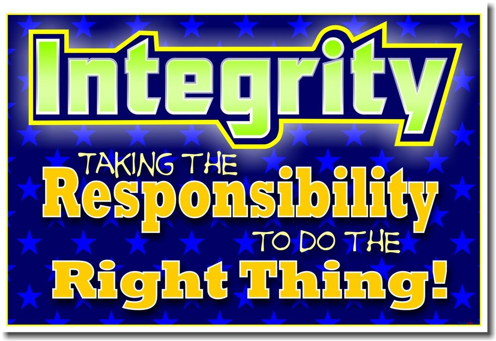 NEW Classroom School Motivational POSTER - Integrity ...