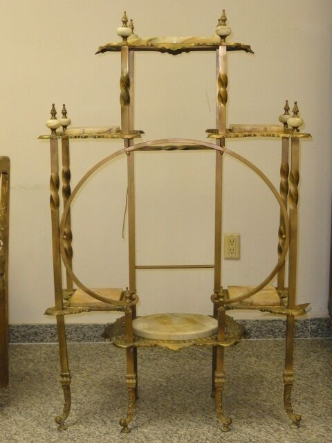 antique ornate brass onyx victorian etagere ebay. Black Bedroom Furniture Sets. Home Design Ideas