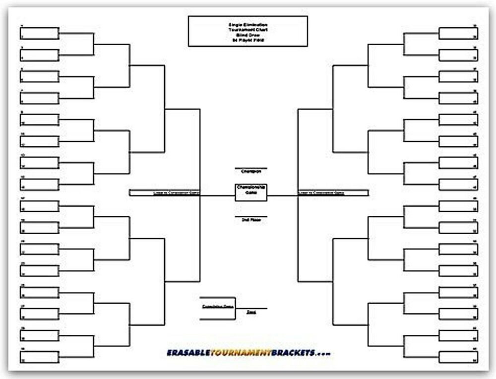 22 X 34 64 Player Single Elimination Tournament Bracket