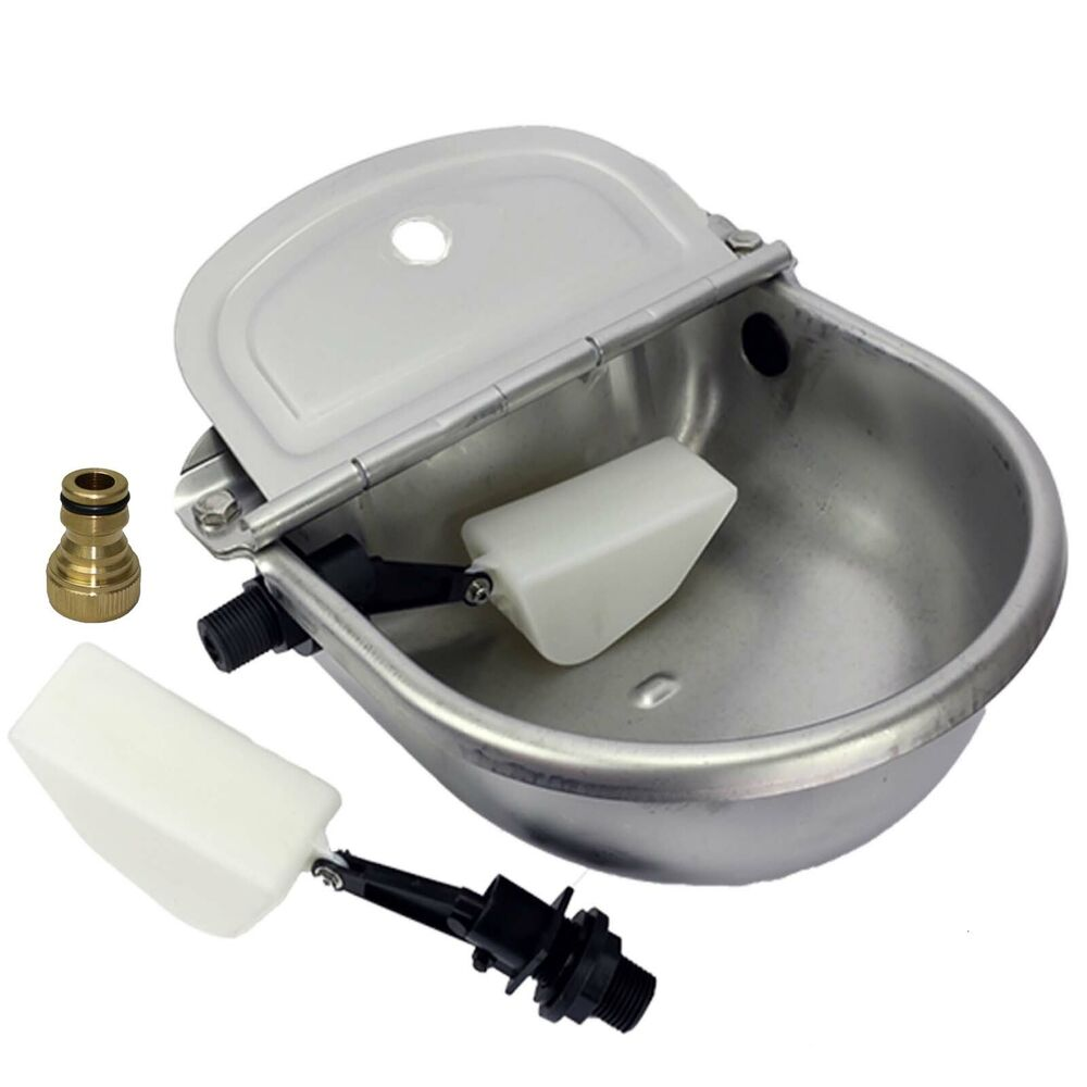 auto fill dog water bowl automatic water trough stainless steel sheep chicken 7521