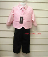 Boys Pink Black 4 Piece Suit Wedding Page Boy Party Formal Occasion Age 2-3