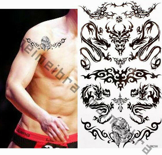 1 sheet black unisex celtic tribal gothic arty designs temporary tattoos party ebay. Black Bedroom Furniture Sets. Home Design Ideas