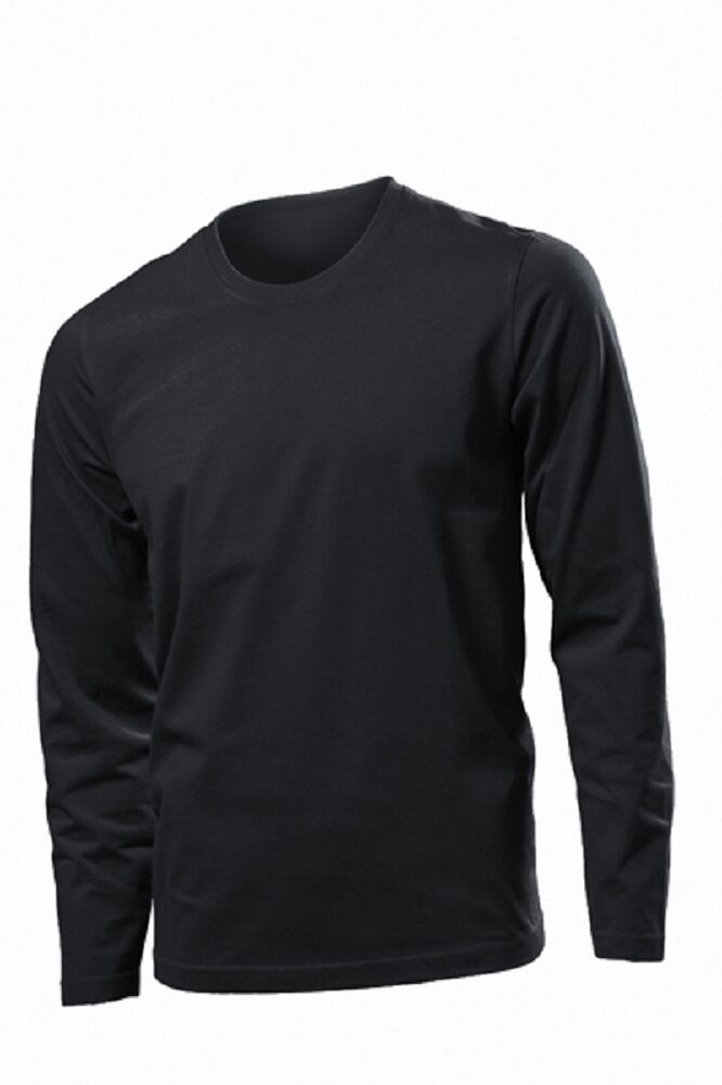Hanes tagless mens cotton plain black long sleeve tee t for Xxl long sleeve t shirts
