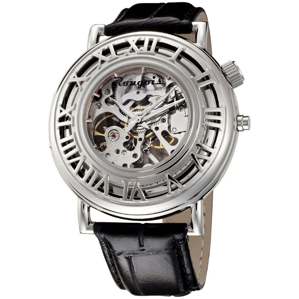 Rougois Pop Up Skeleton Mechanical Watch Silver RSO94