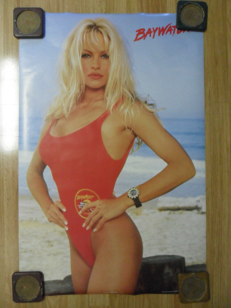 sexy girl dorm poster 24 x 36 pam pamela anderson baywatch tv show red swimsuit ebay. Black Bedroom Furniture Sets. Home Design Ideas