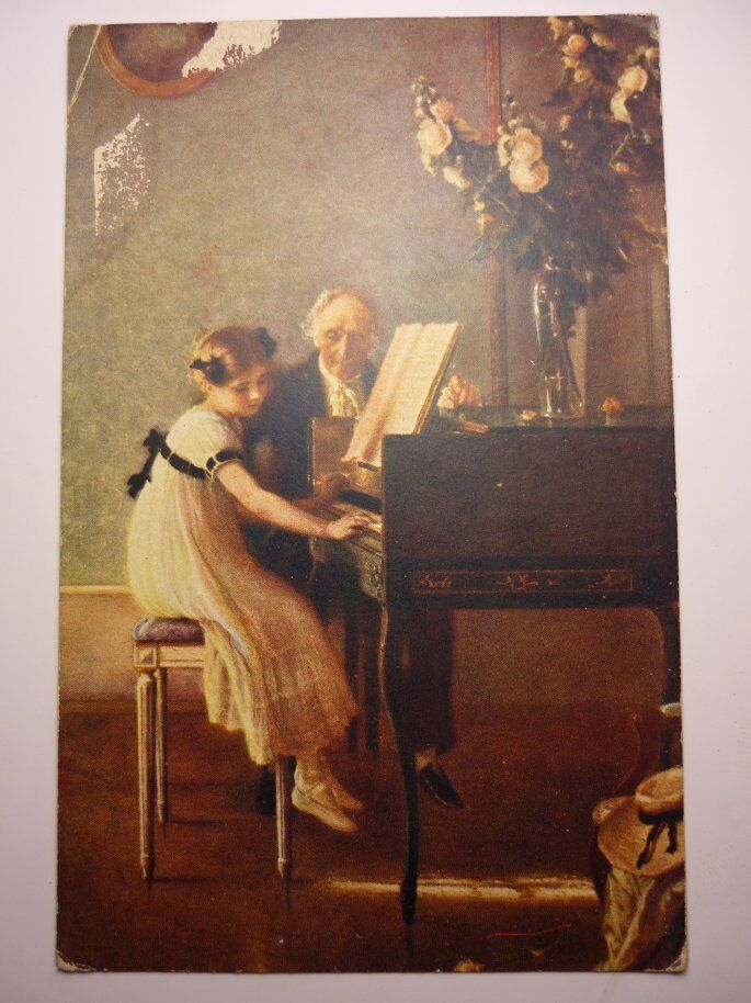 Antique French Postcard J. A. Muenier First Piano Lesson ...