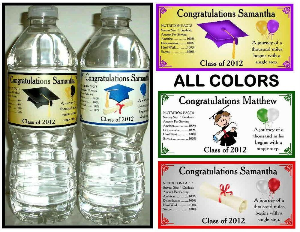 100 GRADUATION PARTY FAVORS WATER BOTTLE LABELS ~ Glossy ...