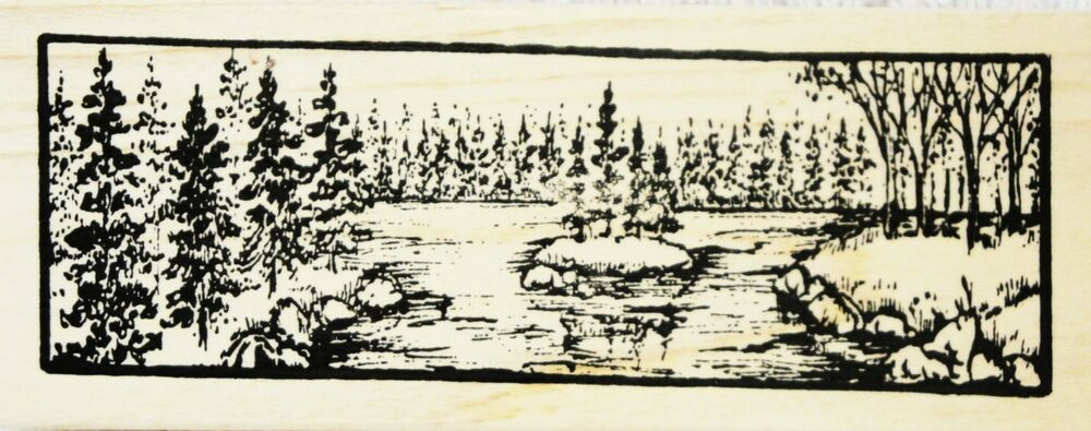 Northwoods rubber stamps pine island border scene father 39 s for Four man rubber life craft