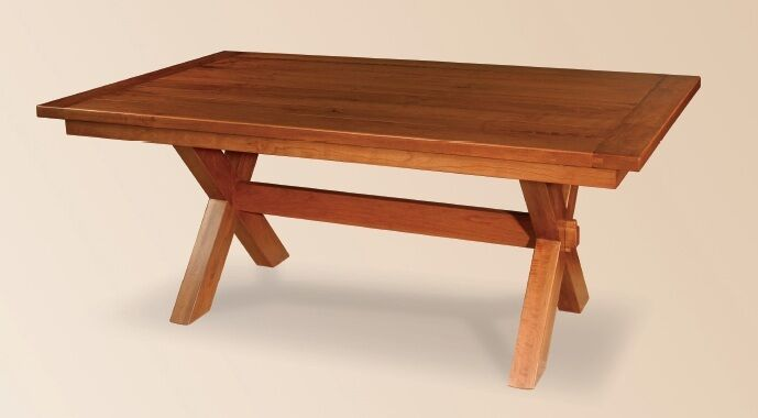 Amish Rustic Farmhouse Trestle Dining Table Solid Wood