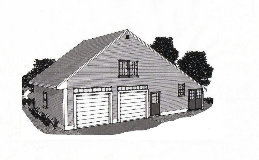 38 x 24 2 car garage building blueprint plans work shop for 30x36 garage plans