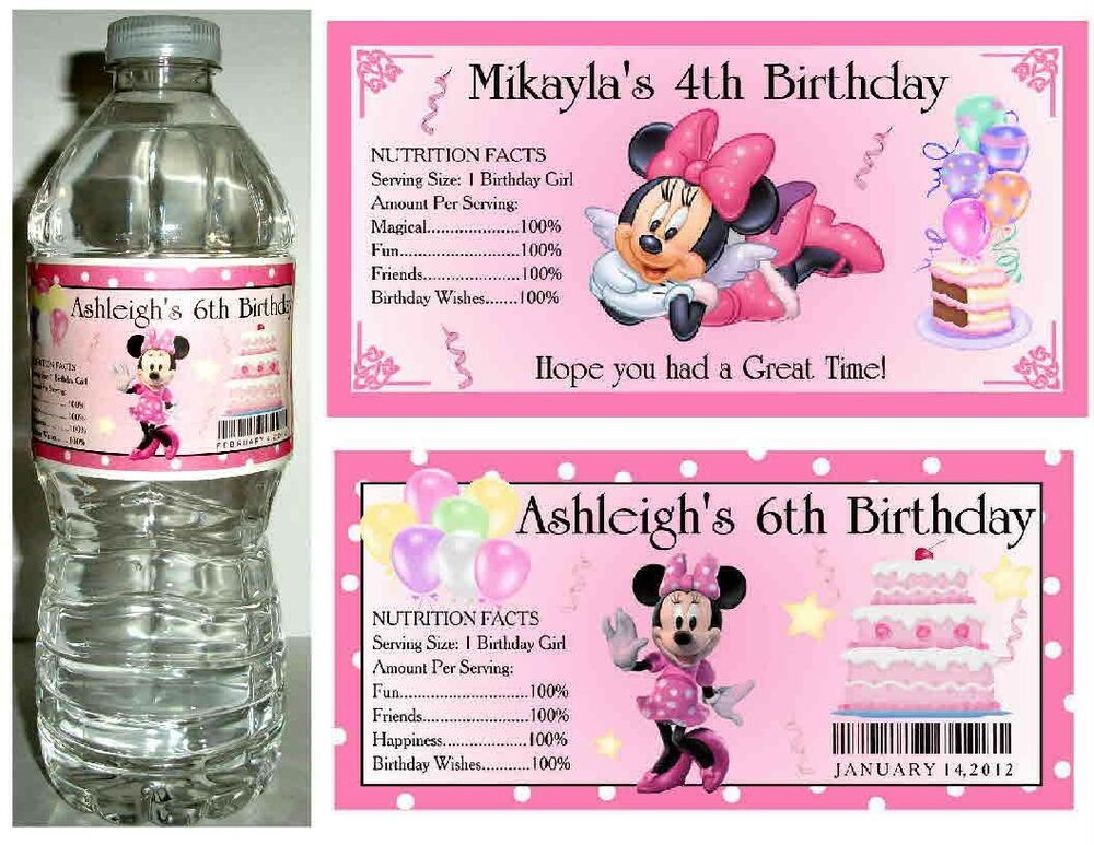 20 Minnie Mouse Birthday Party Favors Water Bottle