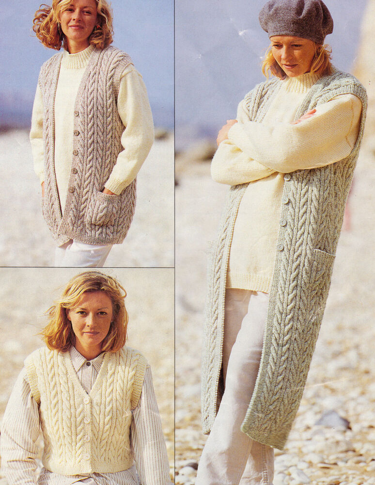 Aran Cabled Gillet Waistcoat Pattern in 3 Lengths ...