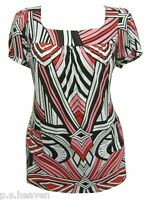 WOMENS PLUS SIZE 16 20 22/24 NEW SOFT STRETCH PINKS PRINT SHORT SLEEVE TUNIC TOP