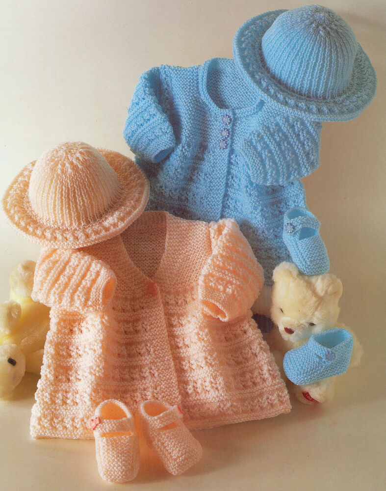 Vintage Knitting Patterns Baby Hats : Vintage Baby Matinee Coats Hat & Shoes Knitting Pattern 14 ...