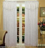 Spring Daisy Embroidered Window Curtain Panel Crushed Voile IVORY 2PCS New
