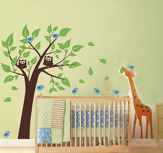 cute giraffe owl birds tree fit baby room vinyl wall paper decal art sticker x38 ebay. Black Bedroom Furniture Sets. Home Design Ideas
