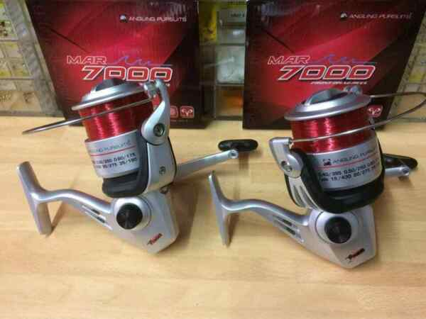 2 x Long Cast 7000 Fixed Spool Beachcaster//Beach Fishing Reels and Line