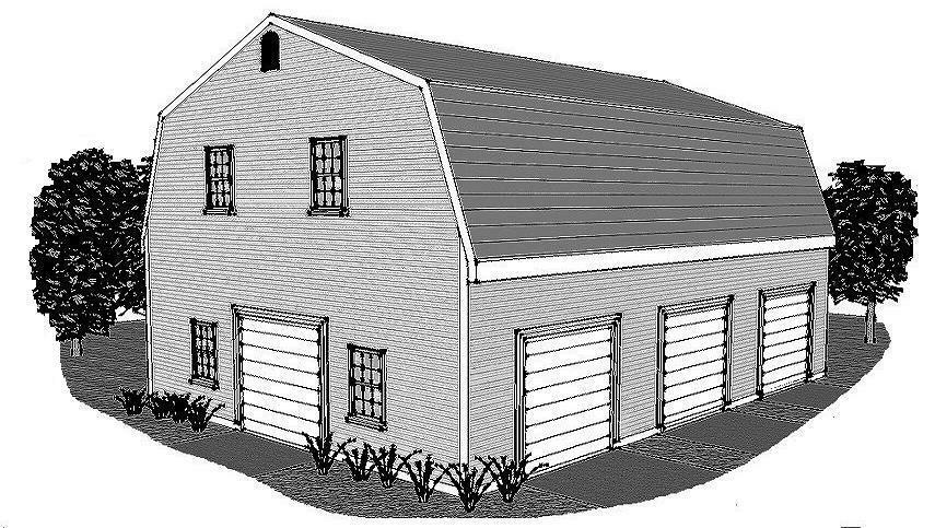30 x 40 3 stall gambrel garage building plans open walk up for 30 by 40 garage