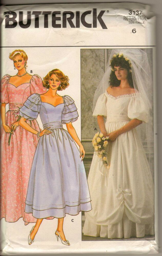 Butterick 3137 Pattern Romantic Wedding Dress Bridal Gown