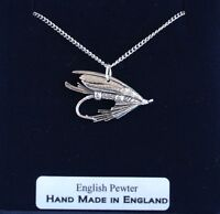 Fishing Fly Necklace in Fine English Pewter, Hand Made and Gift Boxed