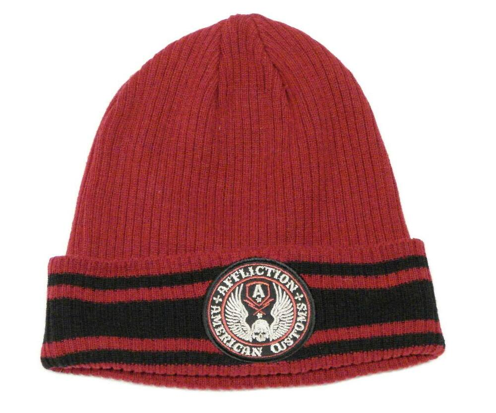 a070eeb8a9d Details about Affliction Signature Red Cuff Style Knit Beanie Skull Cap  Mens One Size NWT