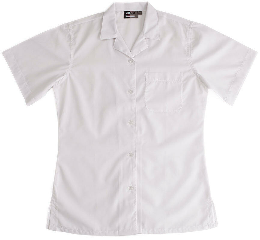 2 School Girls White Short Sleeve Rever Collar Blouse