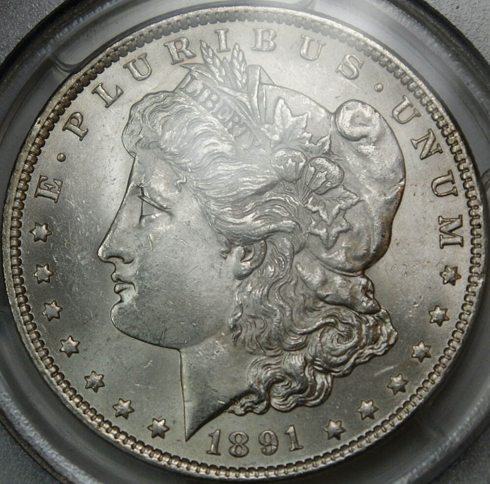 1891 Morgan Silver Dollar Coin Pcgs Ms 62 Vam 2 Doubled
