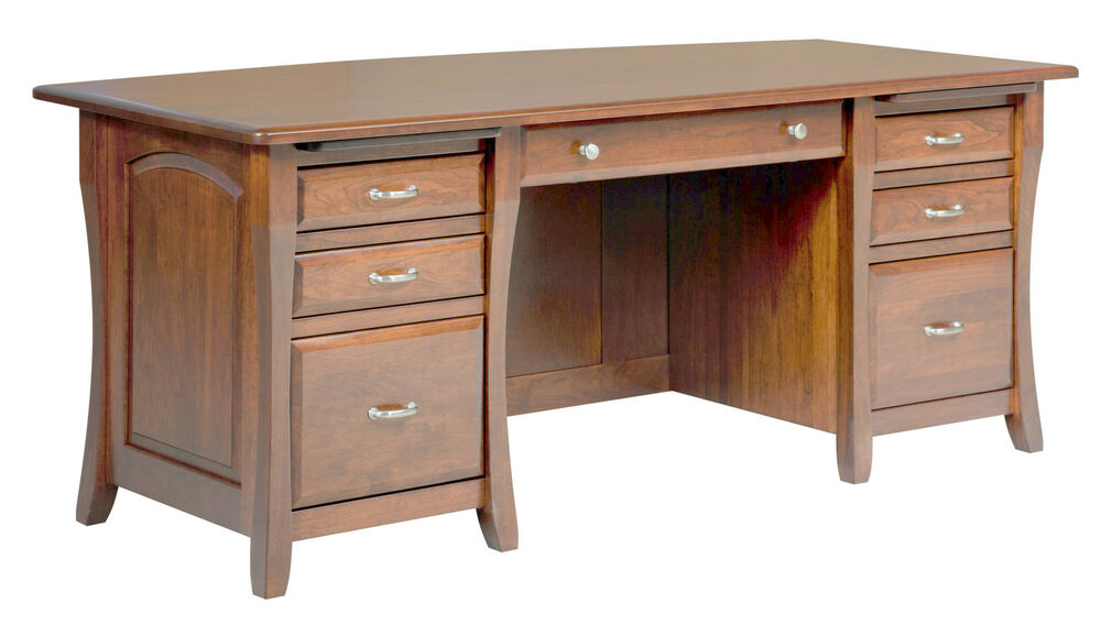 Amish Executive Computer Desk Home Office Furniture Solid Wood File New Ebay