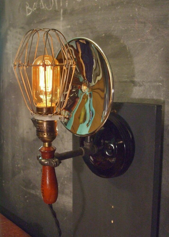 Vintage Industrial Cage Light with Wall Mount - Machine Age Trouble Lamp Sconce eBay