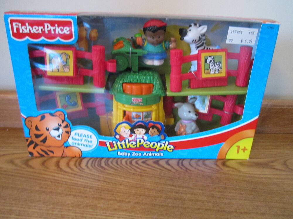 Fisher Price Little People New Box Baby Zoo Animals Feed food petting fence cart | eBay