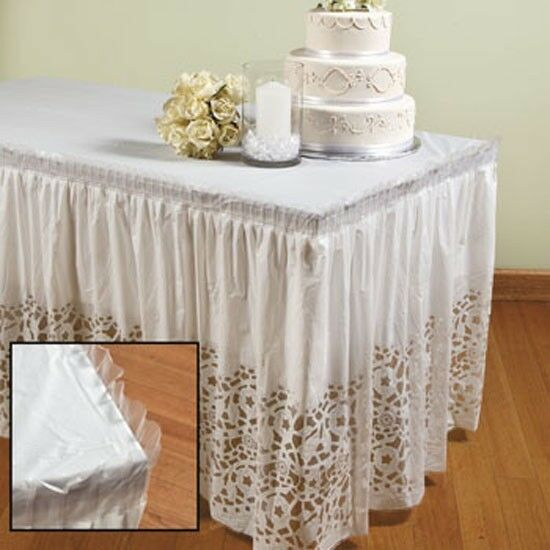 2 lace printed table skirt wedding decor white plastic for Where can i buy wedding decorations