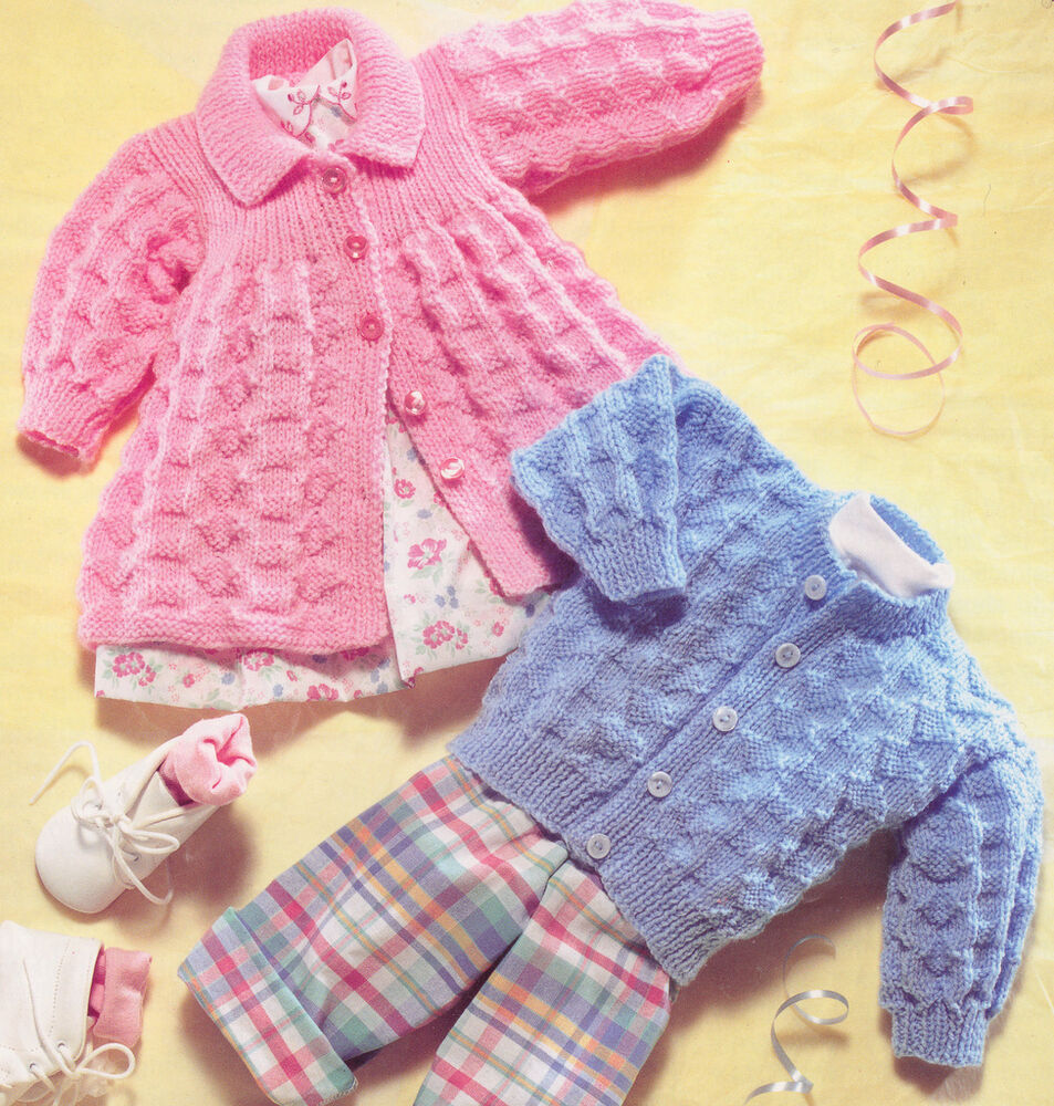 Vintage Textured Baby Matinee Coat & Cardigan DK Knitting ...