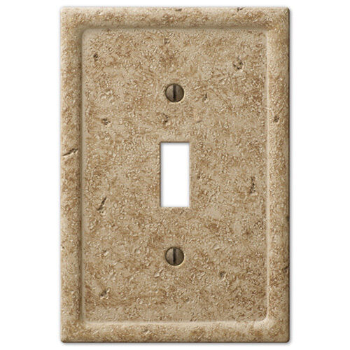 Tumbled TRAVERTINE Textured Stone Noce Resin Switch plate