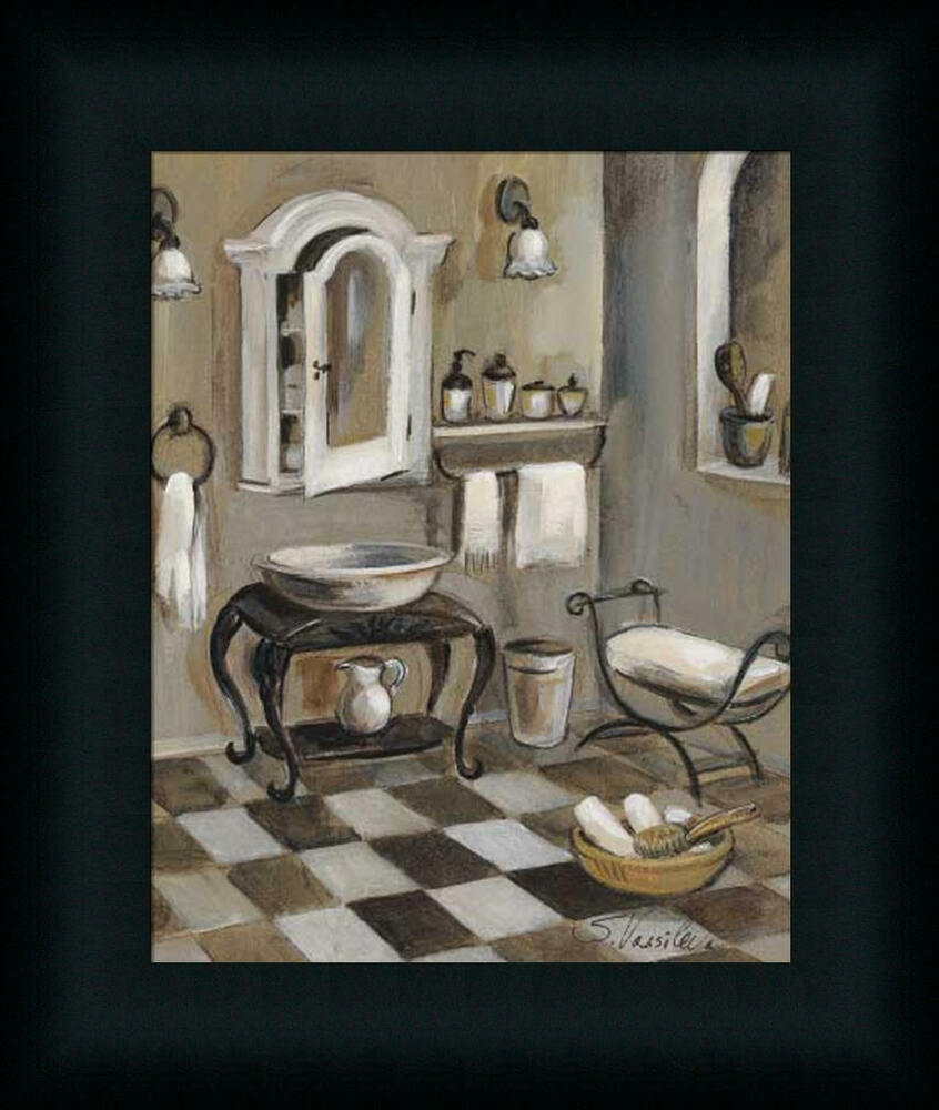 French bath iv silvia vassileva bathroom spa framed art for Paintings for bathroom decoration