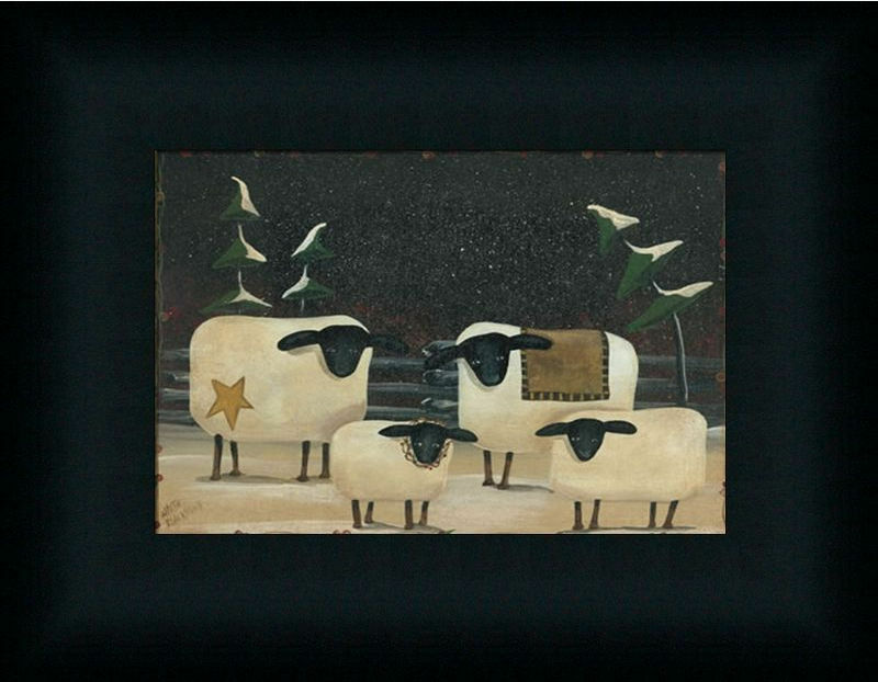Sheep Flock Primitive Folk Art Country Framed Art Print