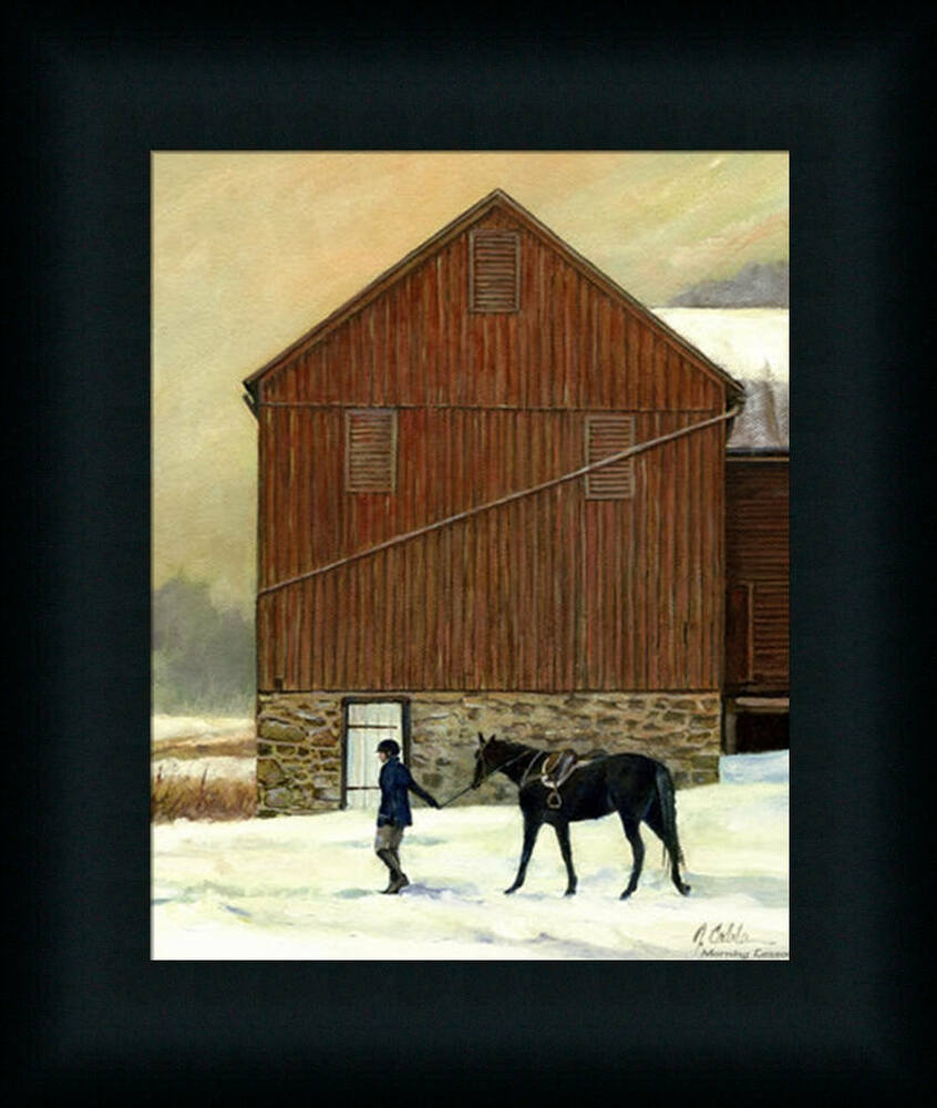Wall Hanging Lesson Plan: Morning Lesson Jerry Cable Equestrian Barn Framed Art
