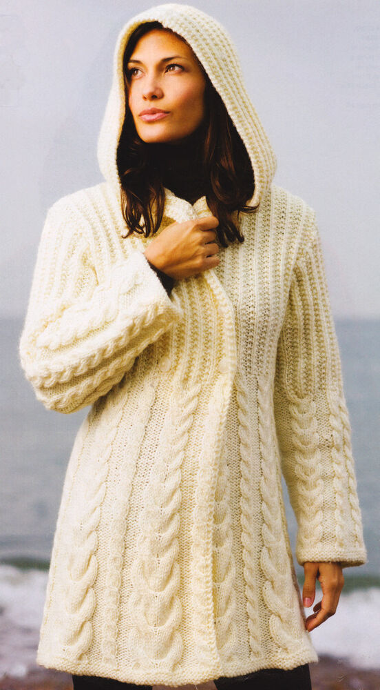 Xl Knitting Patterns : Chunky graduated cable hooded aran style jacket knitting