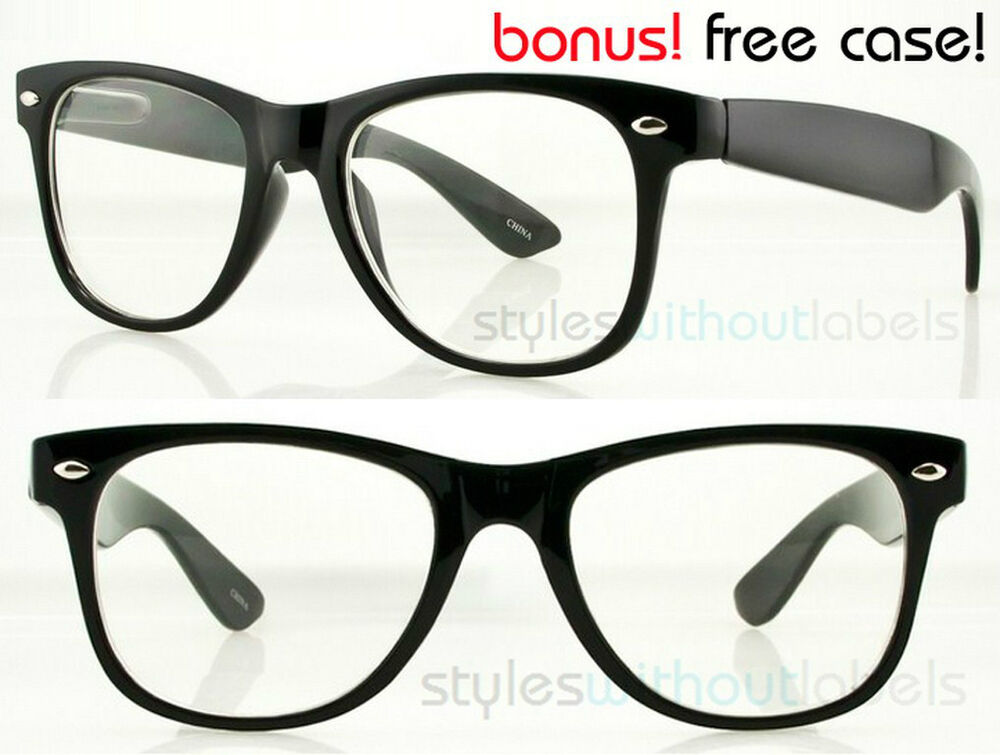 CLEAR LENS BLACK FRAME Fashion Glasses Vintage Hipster ...