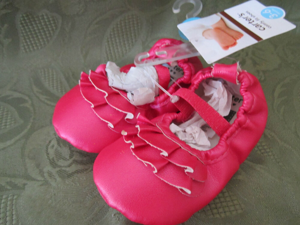 New Carters Comfy Fit Baby Girl Slip On Shiny Pink Dress