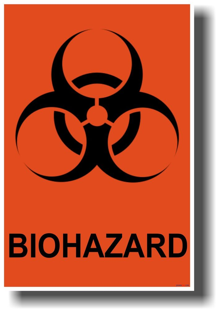 New Poster Biohazard Symbol Orange Background Health Safety