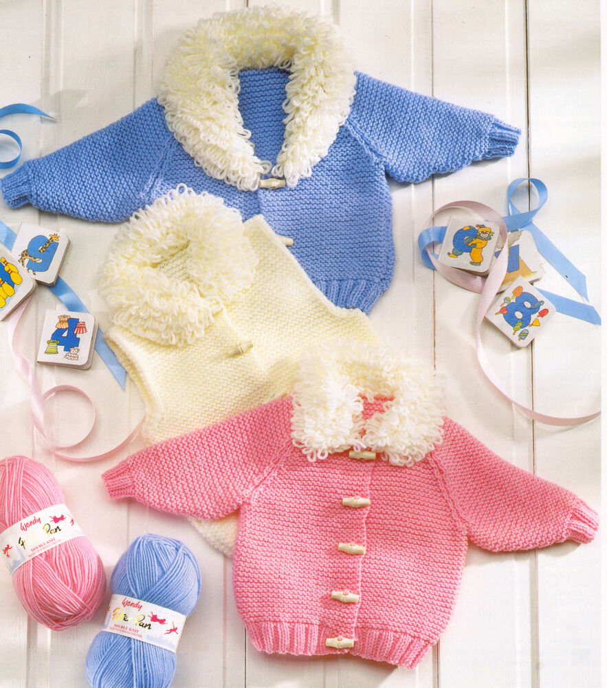 Knitting Pattern For Baby Loopy Jacket : Baby Jackets & Gilet with Loopy Collars DK 12