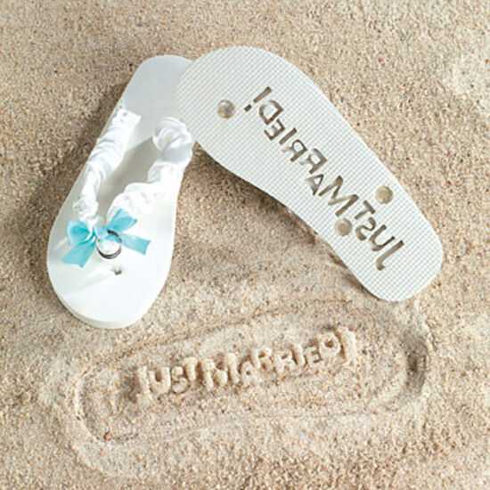 just married imprint flip flops bridal shower gift beach wedding bride