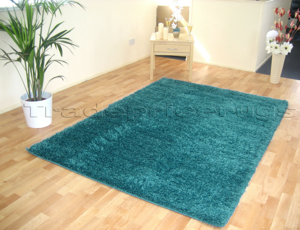 Large Thick Teal Blue Modern Shaggy Rug Similar To Dark